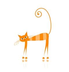 Funny orange cat vector image