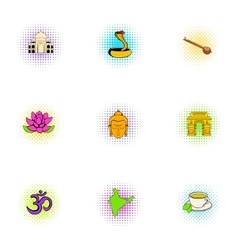 India icons set pop-art style vector image