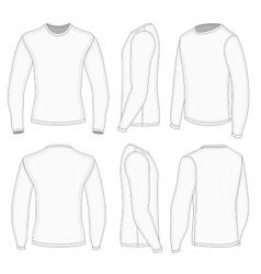 Mens white long sleeve t-shirt vector image vector image