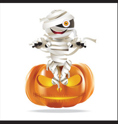 mummy sitting on halloween pumpkin vector image