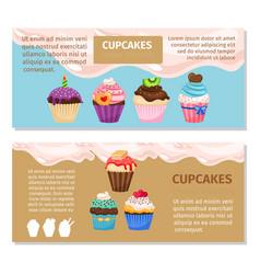 Online shopping muffin flyers design vector