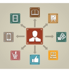 Vintage concept of business with icons vector image vector image