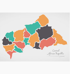 central african republic map with states vector image