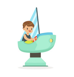 cute little boy playing on a toy ship kid have a vector image