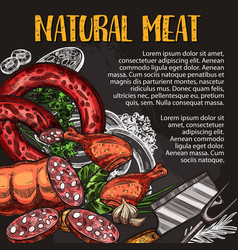 Natural meat and sausage chalkboard poster design vector