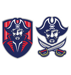 one eye pirate mascot vector image vector image