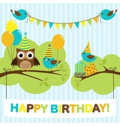 Party birds card vector image vector image