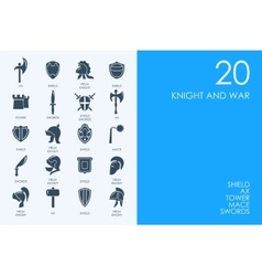 Set of BLUE HAMSTER Library knight and war icons vector image vector image