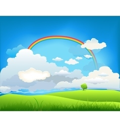 Summer landscape with a rainbow vector image