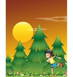 A girl rollerskating near the pine trees vector