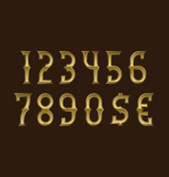 Adventure golden stylized numbers with currency vector