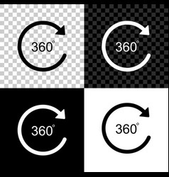 Angle 360 degrees icon isolated on black white vector