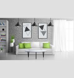 apartment living room realistic interior vector image