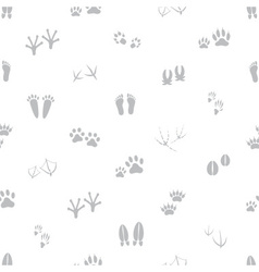 basic animal footprints gray and white seamless vector image