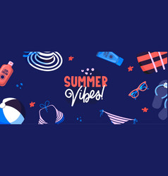 Beach resort accessories and ad text banner vector
