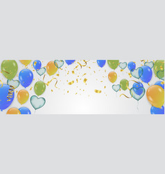 birthday card with green and blue balloons happy vector image