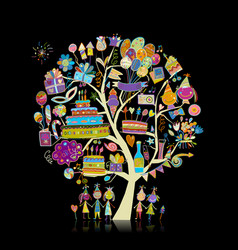 birthday party tree for your design vector image
