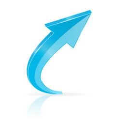 blue up arrow shiny 3d icon vector image