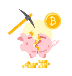 Broken piggy bank with golden bitcoins vector