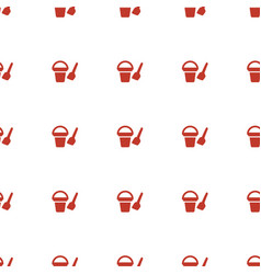 Bucket toy for beach icon pattern seamless white vector