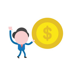 businessman character walking and holding dollar vector image