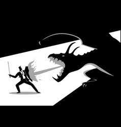 Businessman fighting a dragon vector