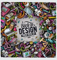 cartoon doodles design card artistic funny vector image