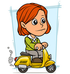 Cartoon redhead girl character riding on scooter vector