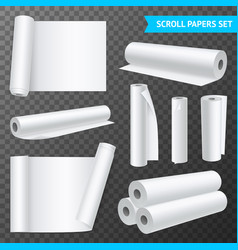 clean white paper scrolls transparent set vector image