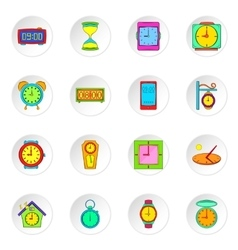 Clock icons set flat style vector