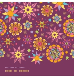 Colorful stars horizontal border seamless pattern vector image