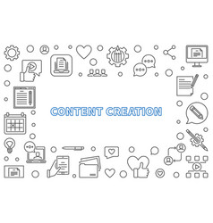 content creation outline frame or vector image