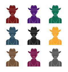 cowboy icon in black style isolated on white vector image