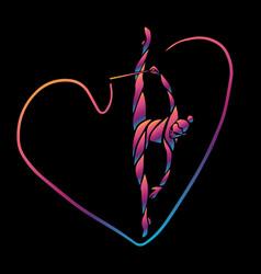creative silhouette gymnastic girl art vector image