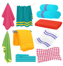 Cute cartoon folded towels set vector
