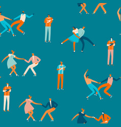 dancing couples people seamless pattern vector image