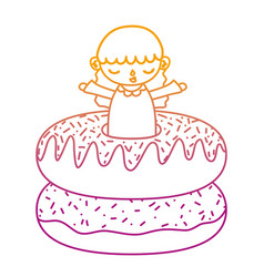 degraded line cute girl child with sweet donuts vector image