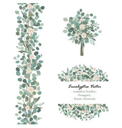 design elements with white rose flowers and vector image