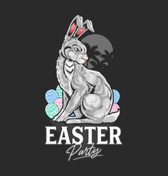 easter rabbit egg artwork vector image