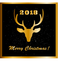elegant merry christmas card with golden raindeer vector image