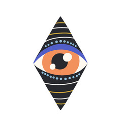 Esoteric evil eye looking from hole and peeping vector