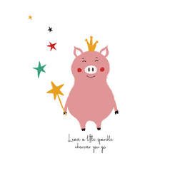 fairy pig holding magic wand vector image