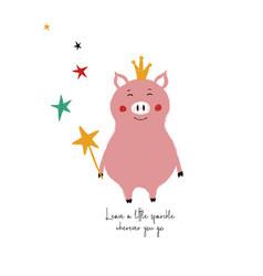 Fairy pig holding magic wand vector