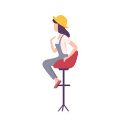 Fashionable young woman sitting in high chair and vector