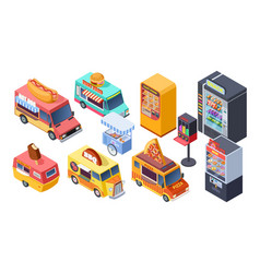 fast food sale isometric vending machine street vector image