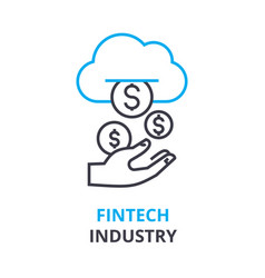 fintech industry concept outline icon linear vector image