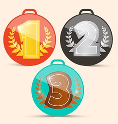 First Second and Third Place Retro Medals Set vector image