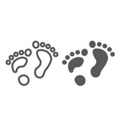 flat foot line and glyph icon orthopedic and vector image