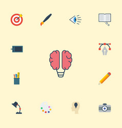 flat icons idea eye gadget and other vector image