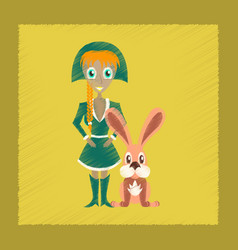 Flat shading style icon christmas girl rabbit vector
